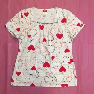 Dickies Hearts Dots Scrub Top Size Small
